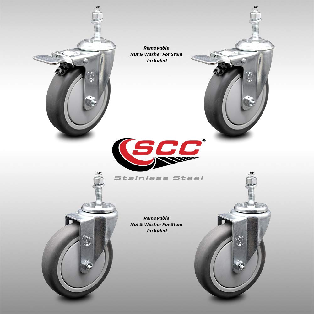 """Stainless Steel Thermoplastic Rubber Swivel Threaded Stem Caster Set of 4-5"""" x 1.25"""" Black Wheels and 3/8"""" Stems - Includes 2 with Total Locking Brake - 1,200 lbs Total Capacity-Service Caster Brand"""