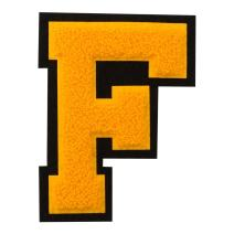 F - Gold on Black - 4 1/2 Inch Heat Seal/Sew On Chenille Varsity Letter
