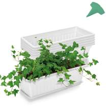 GROWNEER 6 Packs 17 Inches White Flower Window Box Plastic Vegetable Planters with 15 Pcs Plant Labels, for Windowsill, Patio, Garden, Home Décor, Porch