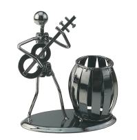 Music Iron Man Art Steel Pen Container Holder Pencil Cup Pot Secretary Desktop Music Decoration Toy Gift (C160 Guitar)
