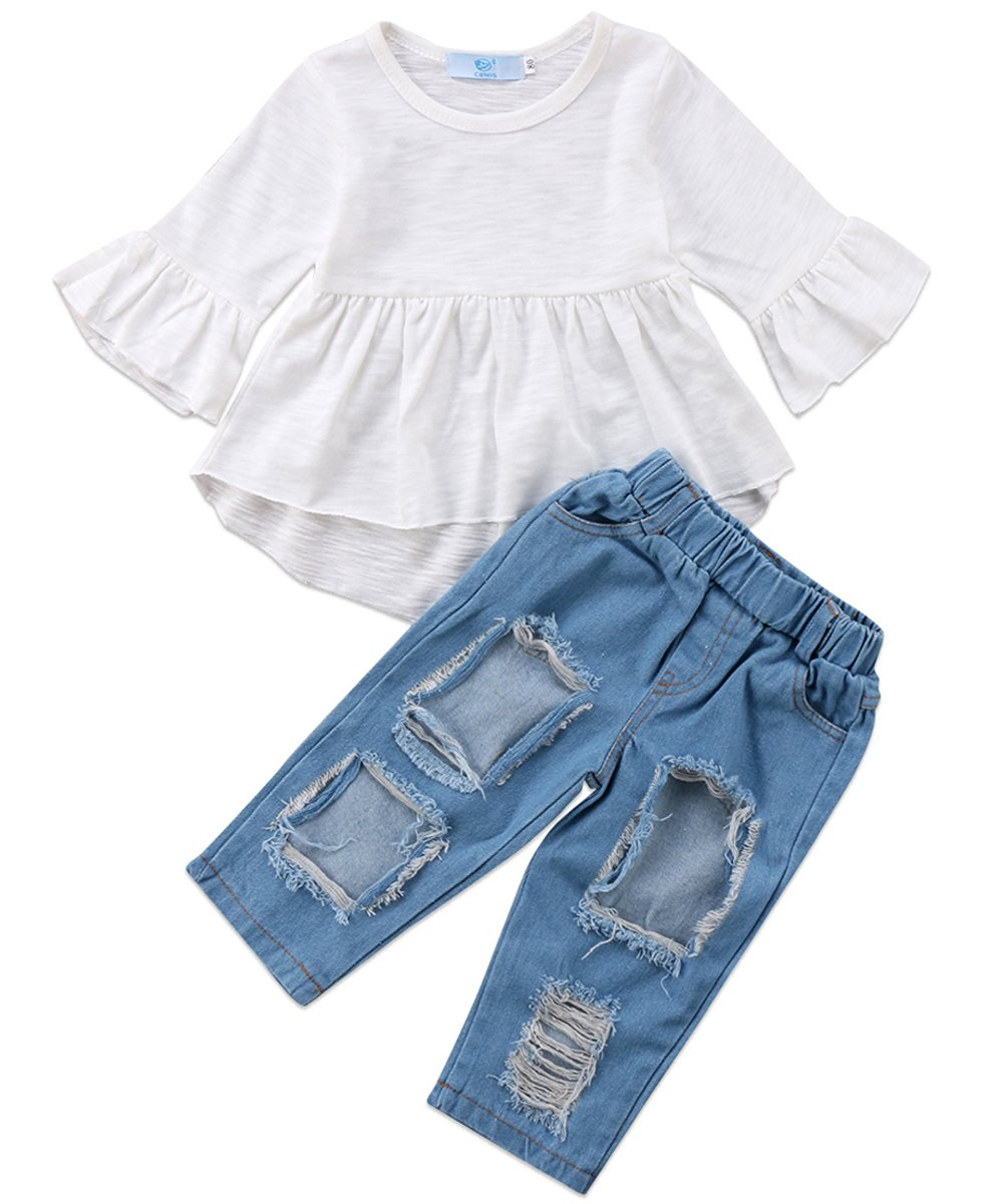 3pcs Baby Girls Kids Off Shoulder Lotus Leaf Top Holes Denim Jeans Headband Outfits Set