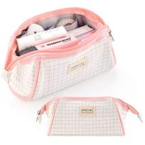 ANGOOBABY Canvas Pencil Case Trapezoid Pencil Pouch Makeup Bag for Teen Boys Girls School Students (Light Pink)