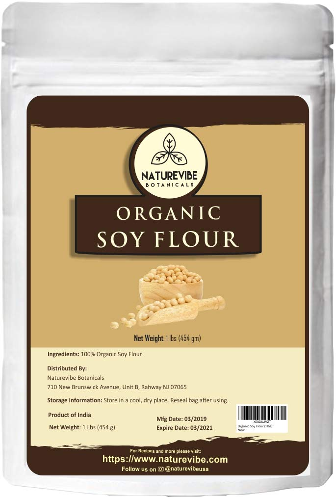 Naturevibe Botanicals Organic Soy Flour, 1lb   Non-GMO and Gluten Free   Source of Protein and Iron