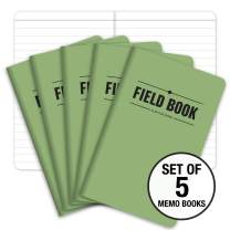 """Field Notebook/Pocket Journal - 3.5""""x5.5"""" - Green - Lined Memo Book - Pack of 5"""