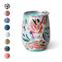 Swig Life 14oz Triple Insulated Stainless Steel Stemless Wine Tumbler with Slider Lid, Dishwasher Safe, Vacuum Insulated Travel Wine Glass in Wild Flower Print (Multiple Patterns Available)