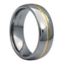 MJ Metals Jewelry 6mm Gold Plated Center Groove Ring Tungsten Carbide High Polished Band