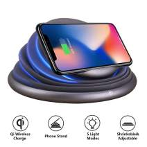 Wireless Charger,COSOOS Qi Wireless Charging Stand Compatible with iPhone 11Pro/11/Xs MAX/XR/XS/X/8/8 Plus,10W for Samsung Galaxy S10+,Note 9/S9/S9 Plus/Note 8/S8, Qi-Enabled Phone,Mood Night Light