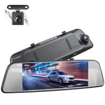 Crosstour Dual Mirror Dash Cam, Waterproof Rear View Backup Camera, FHD 1080P IPS Touch Screen 290° Wide Angle Cam with G-sensor, Parking Monitor, Loop Recording