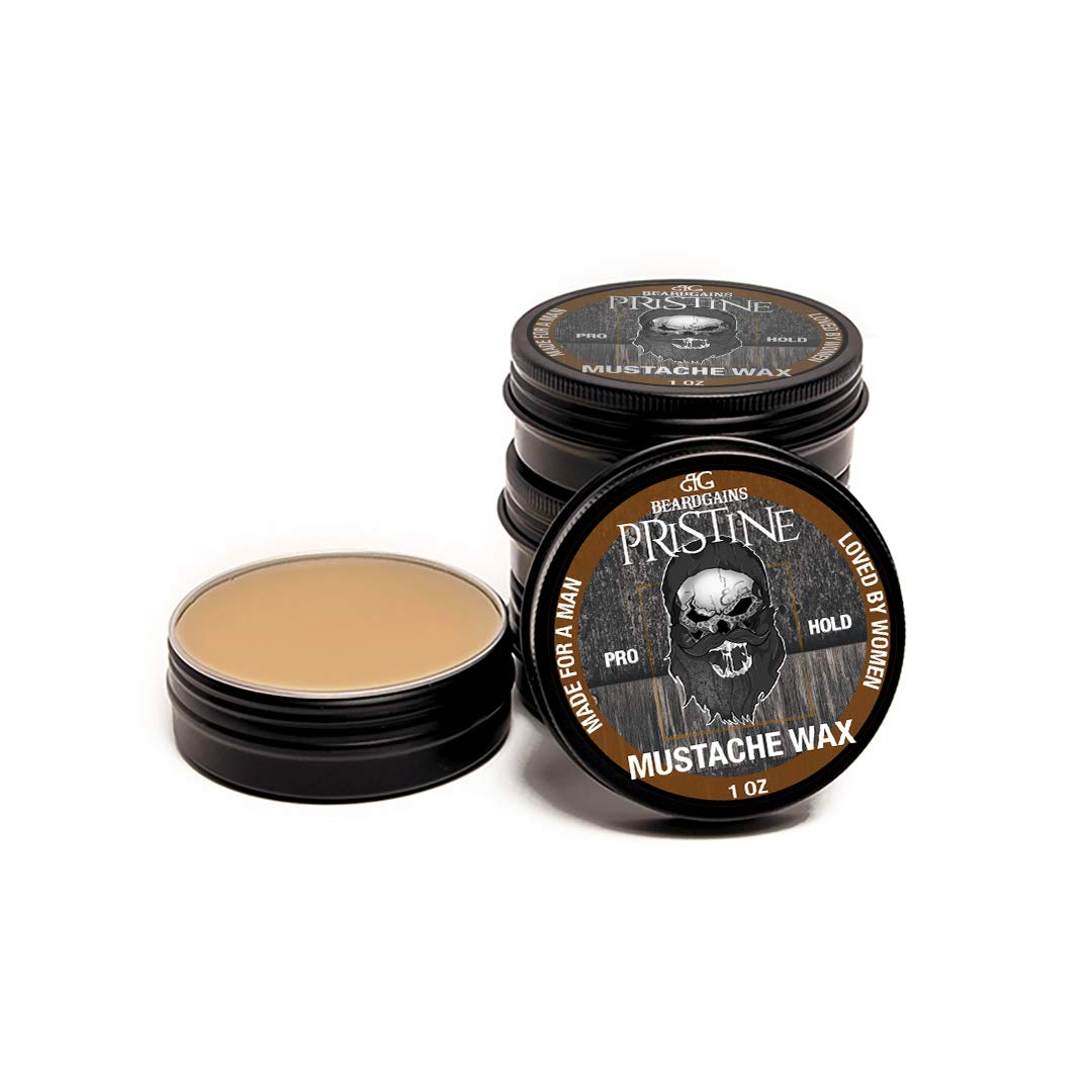 BEARD GAINS Pristine Scent Strong Hold Mustache Wax 1oz - Hold, Mold, and Tame Moustache W/Organic and Natural Stache Wax (Brown)