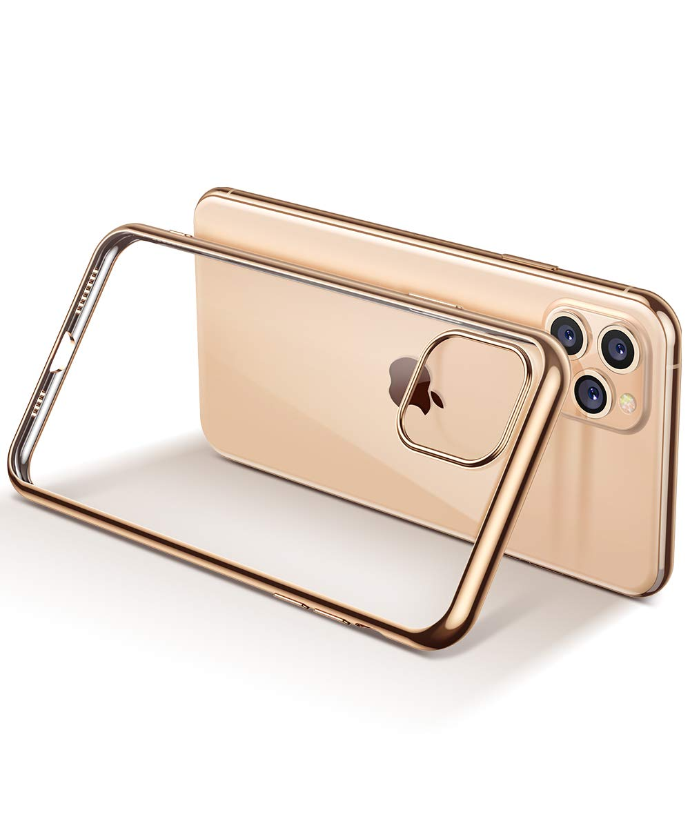 MOBOSI Clear iPhone 11 Pro Max case, Slim Fit Soft TPU Protective Cover Shockproof Anti-Scratch Cell Phones with Electroplated Frame Designed for Phone 11 Pro Max 6.5 Inch 2019 (Gold)