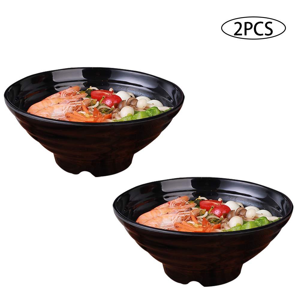Dualshine - 2 x Ramen Bowl - 8 inch - 8.82 Oz Bowl (Black Melamine) Japanese Style Hard Plastic Dishware Soup BowlsSetfor Ramen, Pho, Noodles, Udon Soba, Asian Dishes