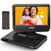 """TENKER 9.5"""" Portable DVD Player with Swivel Screen, Rechargeable Battery and SD Card Slot & USB Port, Black"""