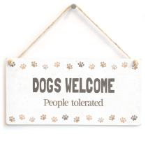 "Meijiafei Dogs Welcome People Tolerated - Funny Dog Humour Home Accessory Gift Sign 10""x5"""