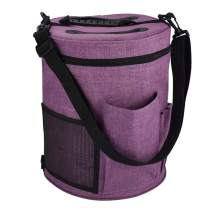 Katech Portable Yarn Bags Large Capacity Yarn Storage Bag Empty Organizer Travel Knitting Tote Bag with Shoulder Strap, for Carrying Yarn Balls, Crochet Hooks and Knitting Needles Accessories (Purple)