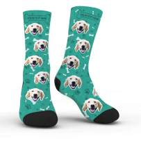 Custom Dog Face Socks with Name Photo Colorful Personalized Crew Socks Funny Gift for Men Women