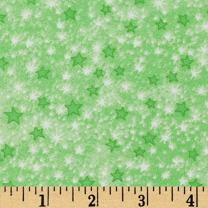 A.E. Nathan Comfy Flannel Stars Green Fabric By The Yard