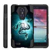 TurtleArmor   Compatible with ZTE ZMax Pro Case   ZTE Blade X Max Case [Dynamic Shell] Hybrid Dual Layer Hard Shell Kickstand Silicone Case - Blue Serpents