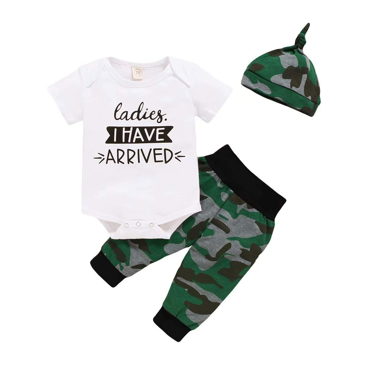 CETEPY Baby Boy Clothes Newborn Outfits Summer Romper Shorts Gifts 3Pcs Letter Printed Tops + Pants + Hats