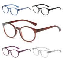 OKH TR90 Frame Round Reading Glasses, 5 Pack Blue Light Blocker UV Protection Lightweight Flexible Readers for Women and Men