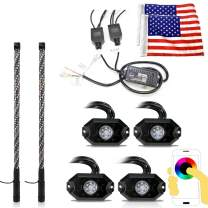 Dual 3 Feet LED Whips and 4x Rock Lights Combo Kit Chase Moving Brake Turn Signal Flashing Strobe