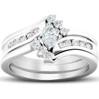 1/2 Ct Marquise Diamond Engagement Trio Wedding Ring Set 10k White Gold