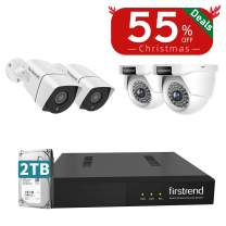 4MP PoE Security Camera Systems 5MP NVR Video Recorder with 4PCS 1440P IP Cameras Surveillance System 2TB Hard Drive Ultra HD Night Vision for Home Business Outdoor Indoor