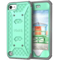 ULAK Case for iPod Touch 7& 6 & 5, Knox Armor Dual Layer Hybrid Protective Cover with Belt Clip Holster for iPod Touch 7th/6th/5th Generation (Green)