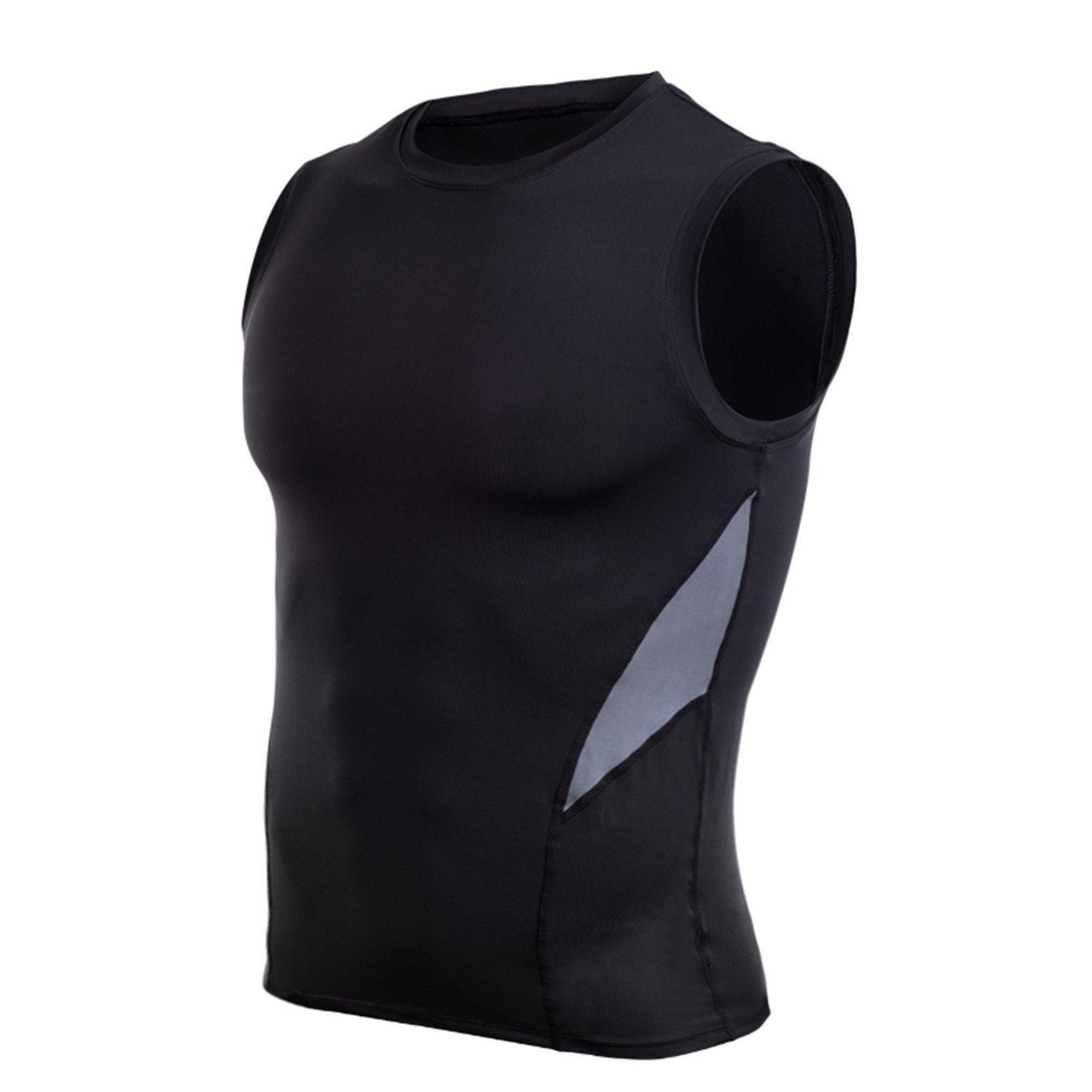 AIRAVATA Men's Sleeveless Cool Dry Breathable Elasticity Sportwear Compression Tank Top