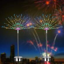 LED Firework Lights with APP Control, Sumaote 2 Pack 120 LEDs 8 Modes Battery Operated & USB Charging Table Twinkle Lights Seated String Fairy Lights for Bedroom, Wedding Party(RGB,2PCS)