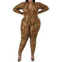 Uni Clau Women Plus Size Leopard Jumpsuit - Sexy One Piece Outfits Deep V Neck Long Sleeve Bodycon Leopard Clubwear Rompers