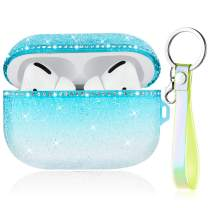 Caka Case for AirPods Pro Glitter Case Cover Crystal Diamond for Girls Women Bling Shiny Sparkle Rhinestone Protective with Lanyard TPU Luxury Case for AirPods Pro (Front LED Visible)(Gradient Teal)