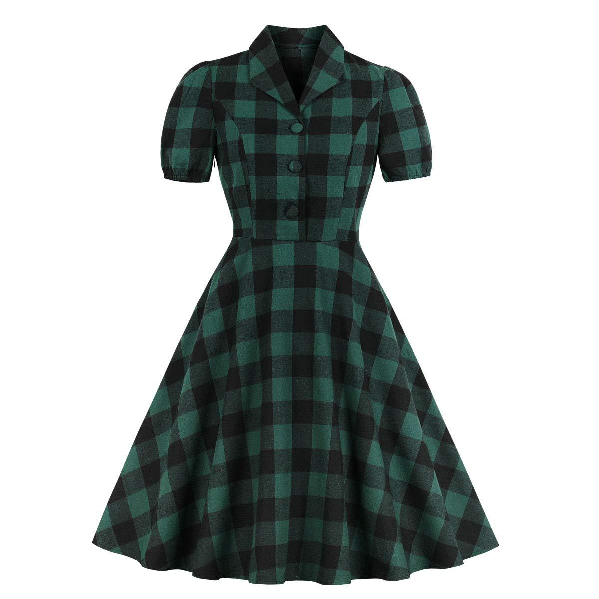 Wellwits Women's Green Check Button Down Pocket 1940s Vintage Shirt Dress