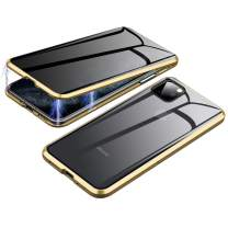 Anti-Spy Case for iPhone 11 Pro Max (6.5 inch), Jonwelsy 360 Degree Front and Back Privacy Tempered Glass Cover, Anti Peeping Screen, Magnetic Adsorption Metal Bumper for iPhone 11 Pro Max (Gold)