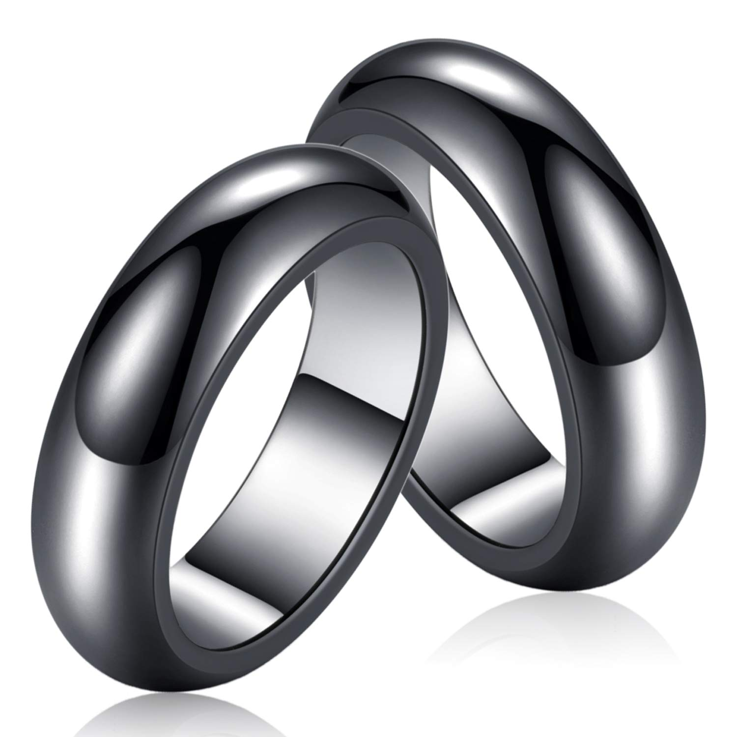 YANCHUN Hematite Rings for Women Men Black Hematite Stone Ring Anxiety Aabsorbs Negative Energy Ring Healing Rings Size 6-10