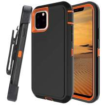 Lanyos Compatible iPhone 11 Pro Max Holster Case,Full Body Protection Hard PC Cover Built in Kickstand and 360 Degree Belt Clip Holster (6.5 inch 2019) (Black-Orange)