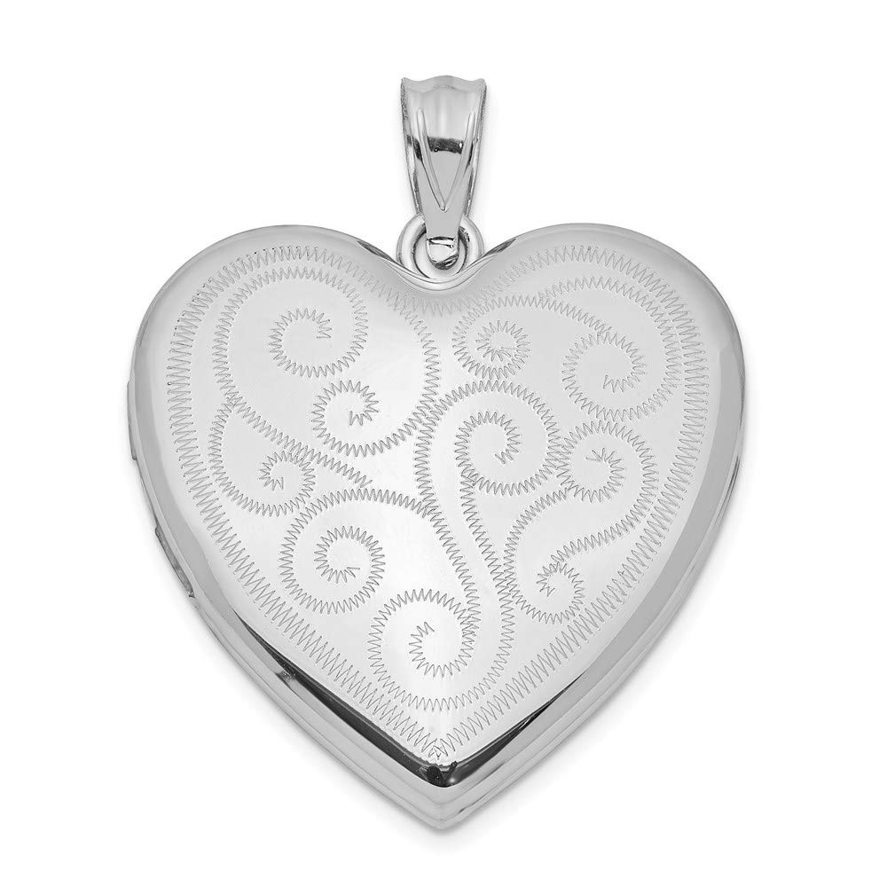 925 Sterling Silver 24mm Swirl Design Heart Photo Pendant Charm Locket Chain Necklace That Holds Pictures Fine Jewelry For Women Gifts For Her