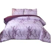 NTBED Marble Comforter Sets Queen Purple Printed 3pcs Bed Set Lightweight Microfiber Bedding Quilt for Adults