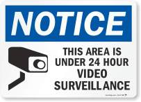 """""""Notice - This Area Is Under 24 Hour Video Surveillance"""" Label By SmartSign 