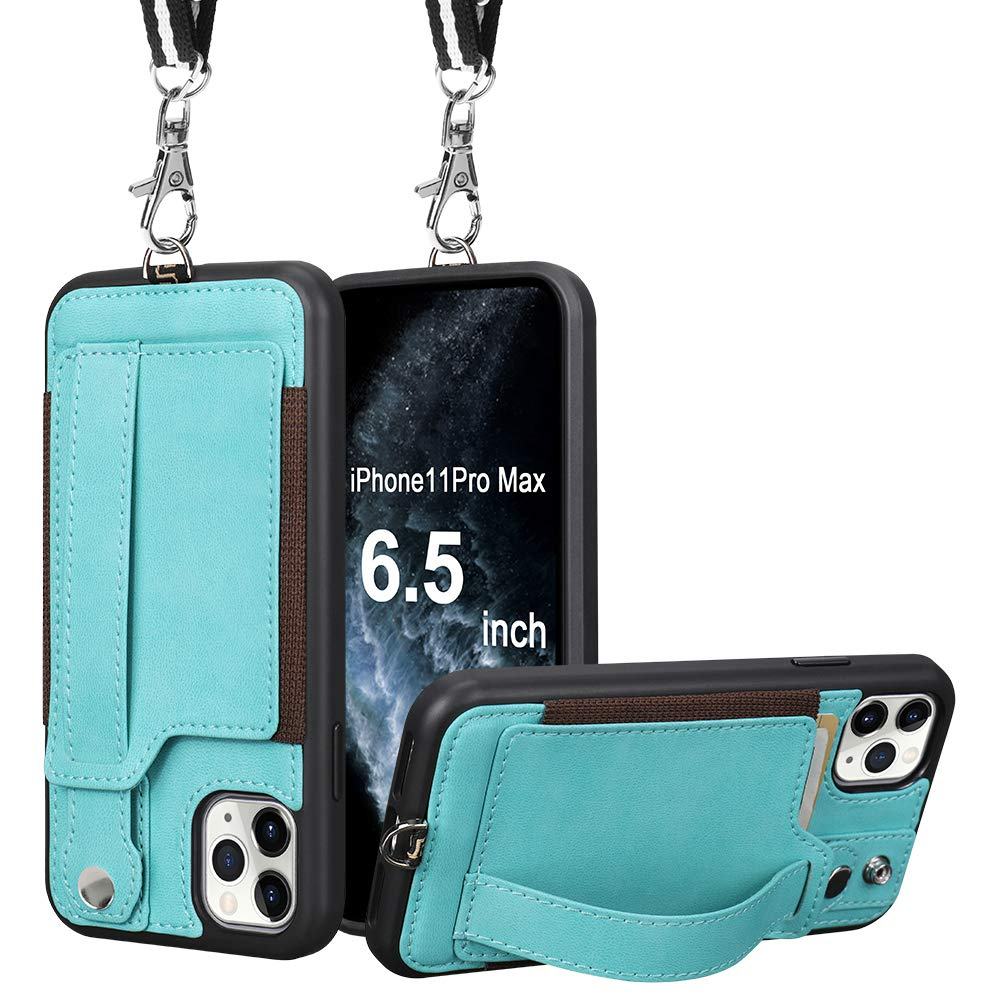 TOOVREN iPhone 11 Pro Max Wallet Case, iPhone 11 Pro Max Case Protective Cover with Leather PU Card Holder Adjustable Detachable iPhone Lanyard Stand Strap for iPhone 11 Pro Max 6.5 Inch 2019 Green