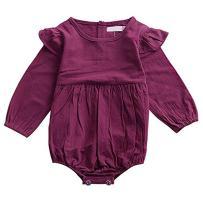 voqoomkl Infant Romper Baby Girl Twins Outfit Long Sleeve Ruffle Bodysuit