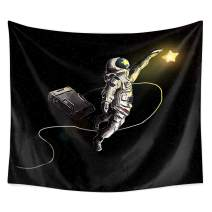 """QCWN Fantasy Galaxy Planet Decor Tapestry, Cool Spaceman Astronaut Starry Art Print Wall Hanging Tapestry for Man & Home Decor. (20, 78"""" L59 W) (59"""" L51 W)"""
