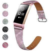 NANW Bands Compatible with Fitbit Charge 4 / Charge 3, Slim Genuine Leather Wristband Replacement Accessories Strap for Women Men Compatible with Fitbit Charge 3 / Charge 3 SE