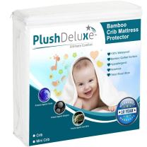 PlushDeluxe Mini Crib Mattress Protector 100% Waterproof, Hypoallergenic, Vinyl Free – Bamboo Quilted Ultra Soft White Terry Fitted Sheet Style