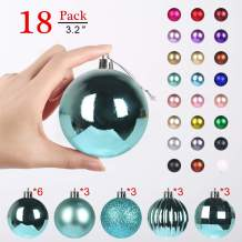 GameXcel Christmas Balls Ornaments for Xmas Tree - Shatterproof Christmas Tree Decorations Large Hanging Ball Teal3.2 x 18 Pack
