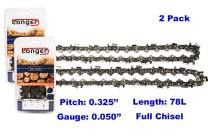 20 Inch Chainsaw 0.325'' Pitch 0.050'' Gauge Full Chisel Sawchain 78 Drive Links (2 PACK)