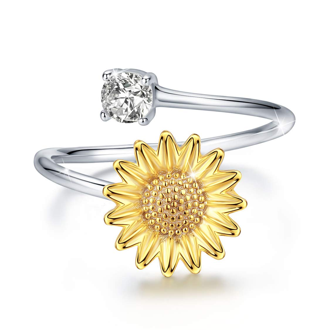Sunflower Ring S925 Sterling Silver Adjustable Dainty Gold Flower Open Band with Cubic Zirconia Stacking Mid Finger Thumb Rings Jewelry Gifts for Women Promise Size7/8/9