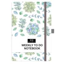 RICCO BELLO Hardcover Undated Weekly to Do Calendar Checklist Notebook, Fountain Pen Friendly, Pen Loop, Ribbon Bookmark, Storage Pocket, Thick Paper (Succulents)