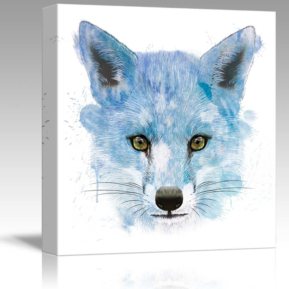 wall26 - Fun and Colorful Splattered Watercolor Fox - Canvas Art Home Decor - 24x24 inches