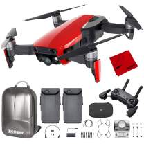 DJI Mavic Air Quadcopter with Remote Controller - Flame Red Max Flight Bundle with Spare Battery, and Custom Mavic Air Hard Shell Back Pack