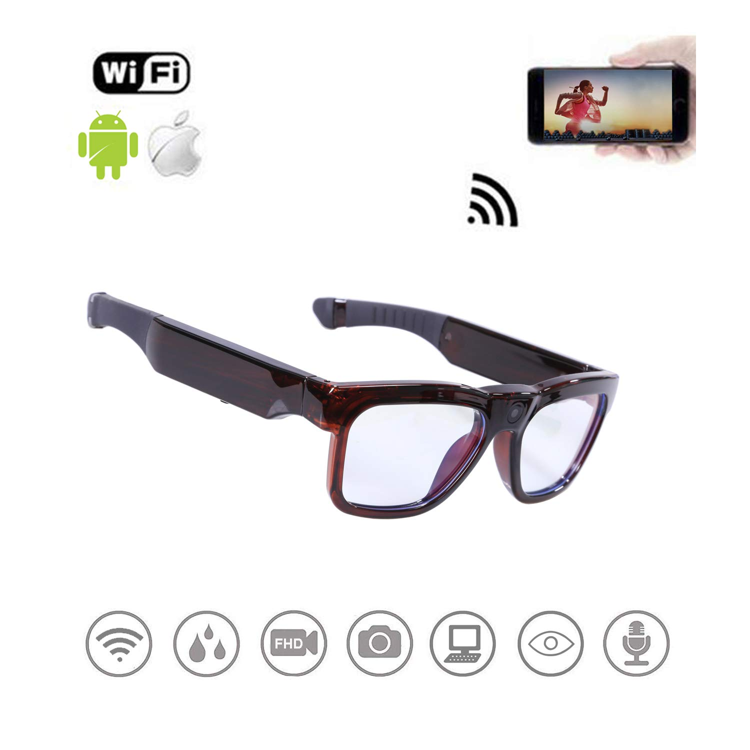 Safety Glasses,WiFi Streaming Videos & Photos from Glasses to Mobile Phone by App with Ultra Full HD Camera, Built-in 64GB Memory and Blue Light Blocking Protective Glasses for Gaming, Reading